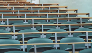 University classroom chairs in row