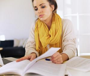 University Student Studying Her Homework