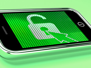 Unlocked Padlock Mobile Phone Shows Access Or Protected