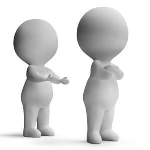 Upset Unhappy 3d Character Showing Disagreement Between Couple