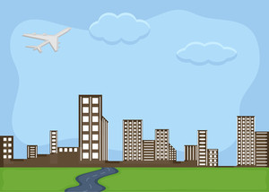 Urban City - Cartoon Background Vector