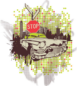 Urban Vector T-shirt Design With Old Car
