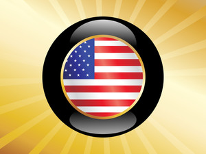 Us Button With Flag