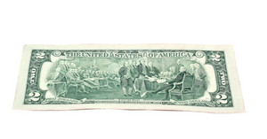 Us Two Dollar  Front Angle Isolated