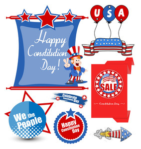 Usa Constitution Day Design Vectors Set