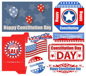 Usa Constitution Day Patriotic Design Backgrounds & Elements Vectors Set