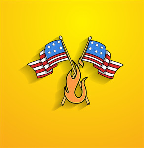 Usa Cross Flags With Fire Flame Vector