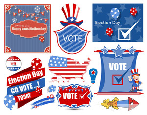 Usa Election Day Vector Illustration Set