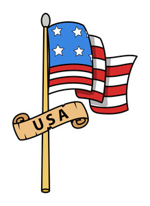 Usa Flag Cartoon Vector Illustration
