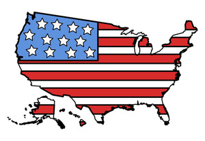 Usa Flag In Map Vector Illustration