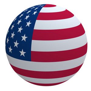 Usa Flag On The Ball Isolated On White.