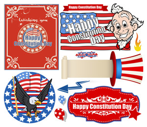 Usa Flag Theme Constitution Day Backgrounds & Elements Vectors Set