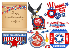 Usa Flag Theme Constitution Day Patriotic Design Backgrounds & Elements Vectors Set