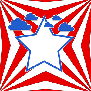 Usa Flag Theme Sky Vector Background