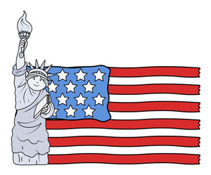 Usa Flag With Statue Of Liberty 4th Of July Vector Illustration