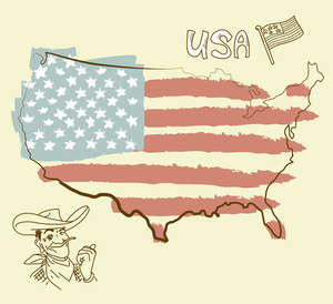 Usa Map With Us Flag