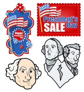 Usa Nation Patriotic Holiday Presidents Day Vector Set