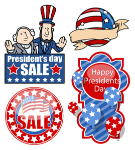 Usa Nation Patriotic Theme Design Holiday Presidents Day Vector Set