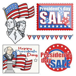 Usa Nation Patriotic Theme - Holiday Presidents Day Vector Set