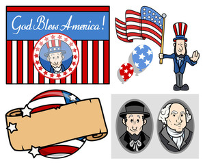 Usa National Holiday Presidents Day Vector Set