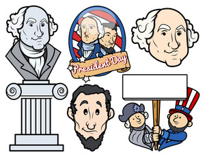 Usa National Holidays Presidents Day Vector Set