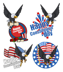 Usa Patriotic Bald Eage Design  Constitution Day Vector Illustration