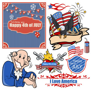Usa Patriotic Designs Vector Set