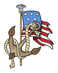 Usa Patriotic Tattoo Flag And Anchor Vector Illustration