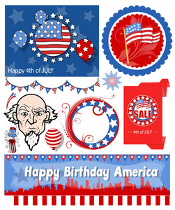 Usa Patriotic Vector Set