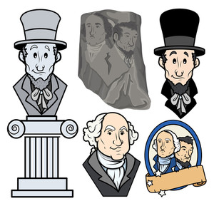 Usa Presidents George Washington & Abraham Lincoln Clip Art Cartoon Vector