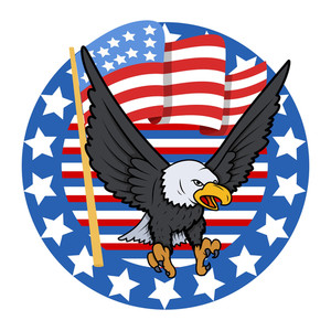 Usa Theme Bald Eagle  Constitution Day Vector Illustration