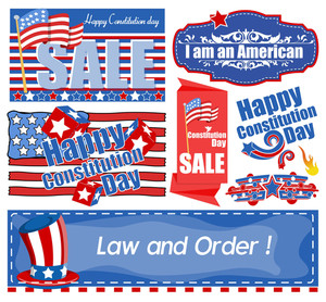 Usa Theme Constitution Day Banners Vector Set