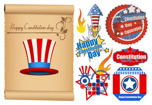 Usa Theme Constitution Day Design  Vector Set