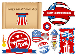 Usa Themed Constitution Day Design Vectors
