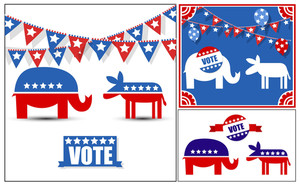 Usa Voting Day Symbol Vector Graphics Set