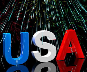Usa Word And Fireworks As Symbol For America And Patriotism