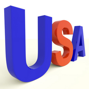 Usa Word As Symbol For America And Patriotism