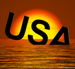 Usa Word Sinking As Symbol For American Problems