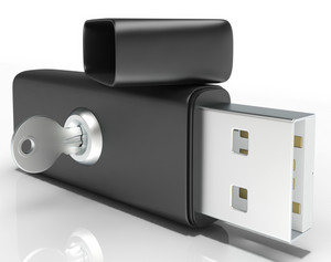 Usb Flash And Key Shows Secure Portable Memory