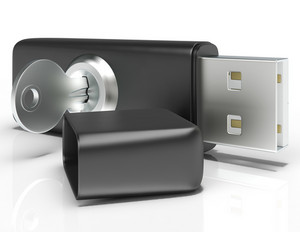 Usb Flash And Key Shows Secure Portable Storage