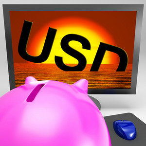 Usd Sinking On Monitor Showing American Debts