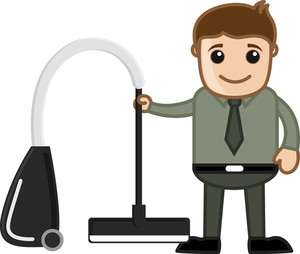 Vacuum Cleaner - Office Character - Vector Illustration
