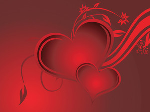 Valentine And Floral Elements On Red Background
