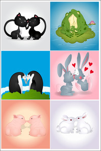 Valentine Animals Vectors