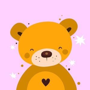 Valentine Bear On Pink Background