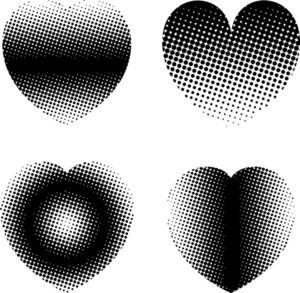 Valentine Halftone Hearts