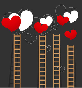 Valentine Hearts And Ladders - Vector Background