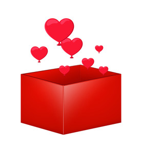 Valentine Hearts Gift Box Vector