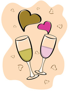 Valentine Vector Background With Two Glasses Of Wine And Heart Shapes.