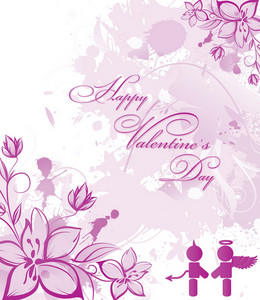 Valentine Vector Illustration With Floral And Love Silhouettes